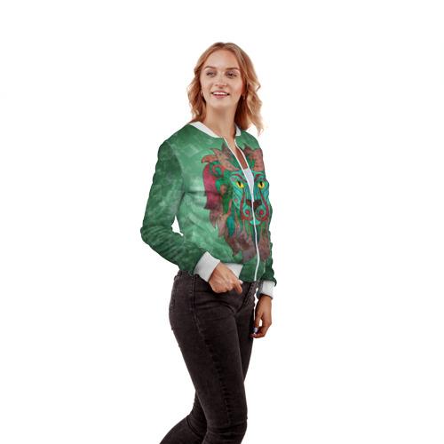 Женский бомбер 3D  Фото 04, Лев на зеленом фоне