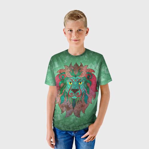 Детская футболка 3D  Фото 01, Лев на зеленом фоне