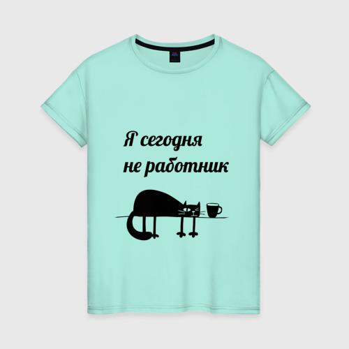 Женская футболка хлопок Понедельник день тяжёлый Фото 01