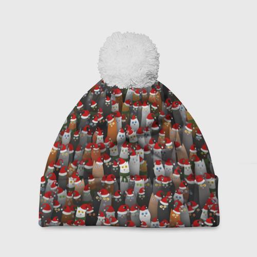 Шапка 3D c помпоном Рождественские котики