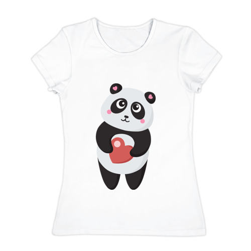 Женская футболка хлопок  Фото 01, Панда с сердечком