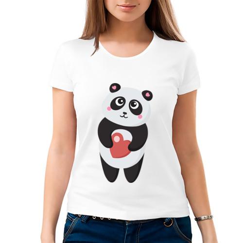 Женская футболка хлопок Панда с сердечком