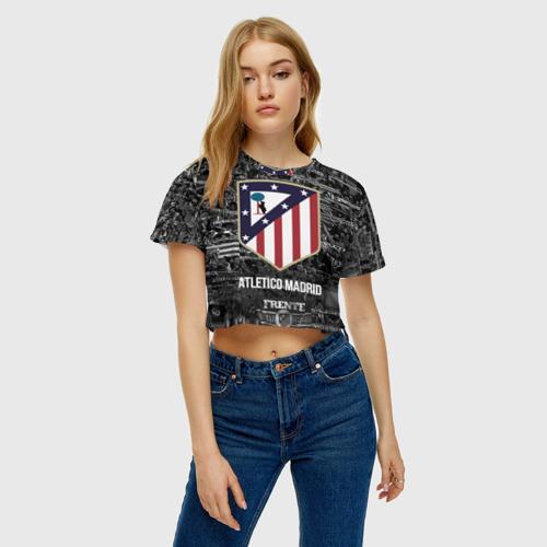 Женская футболка 3D укороченная  Фото 04, Атлетико Мадрид