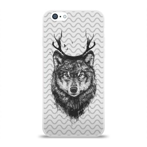 Чехол для Apple iPhone 6 силиконовый глянцевый  Фото 01, Рогатый волк