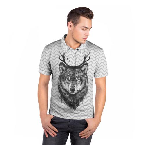 Мужская рубашка поло 3D  Фото 05, Рогатый волк