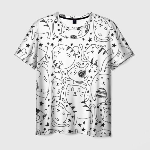 Мужская футболка 3D Котейки