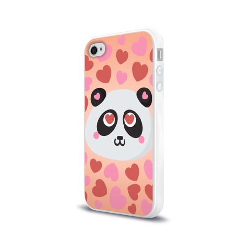 Чехол для Apple iPhone 4/4S силиконовый глянцевый  Фото 03, Влюбленная панда