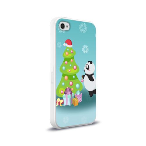 Чехол для Apple iPhone 4/4S силиконовый глянцевый  Фото 02, Новогодняя пандочка