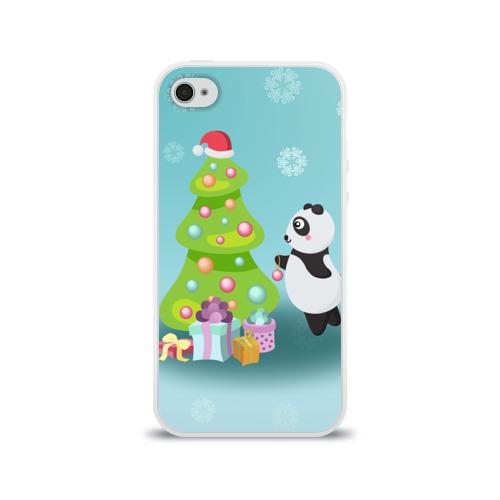 Чехол для Apple iPhone 4/4S силиконовый глянцевый  Фото 01, Новогодняя пандочка