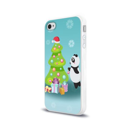 Чехол для Apple iPhone 4/4S силиконовый глянцевый  Фото 03, Новогодняя пандочка