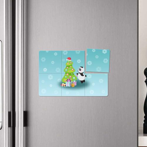 Магнитный плакат 3Х2  Фото 04, Новогодняя пандочка