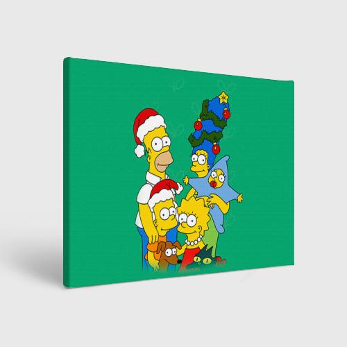 Холст прямоугольный Симпсоны новогодние 3 Фото 01