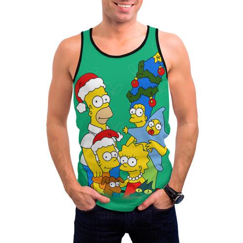 Мужская майка 3D Симпсоны новогодние 3 Фото 01
