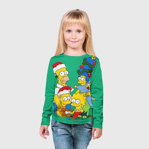 Детский лонгслив 3D Симпсоны новогодние 3 Фото 01
