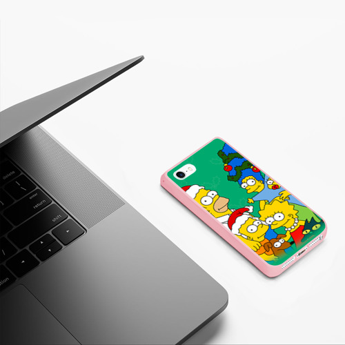 Чехол для iPhone 5/5S матовый Симпсоны новогодние 3 Фото 01
