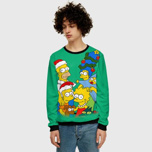 Мужской свитшот 3D Симпсоны новогодние 3 Фото 01