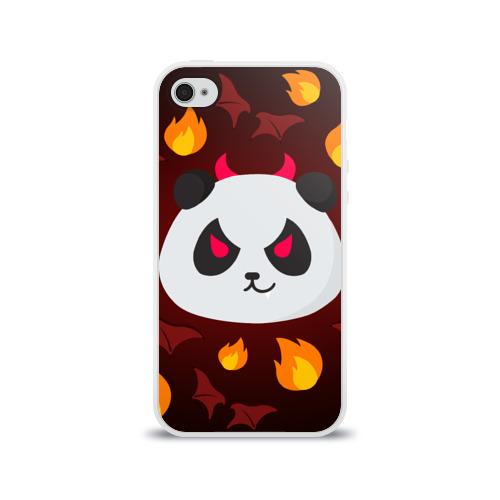 Чехол для Apple iPhone 4/4S силиконовый глянцевый  Фото 01, Панда дьяволенок
