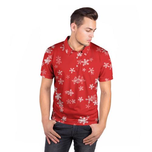 Мужская рубашка поло 3D  Фото 05, Снежная феерия (красный)