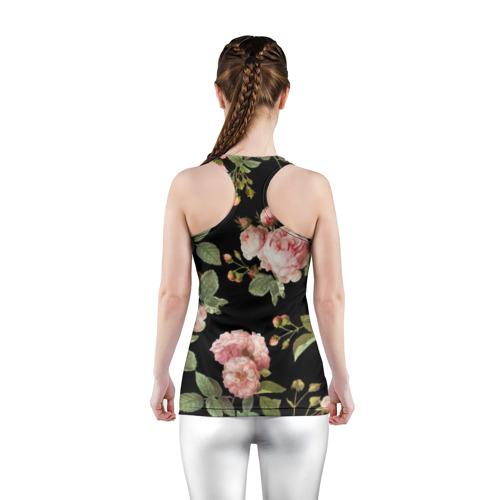 Женская майка 3D спортивная  Фото 04, Розовые розы на черном как у Тайлера