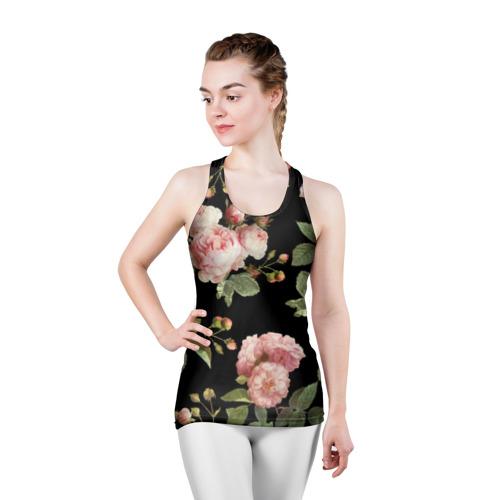Женская майка 3D спортивная  Фото 03, Розовые розы на черном как у Тайлера