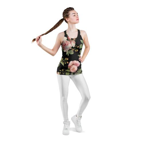 Женская майка 3D спортивная  Фото 05, Розовые розы на черном как у Тайлера