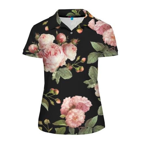 Женская рубашка поло 3D Розовые розы на черном как у Тайлера