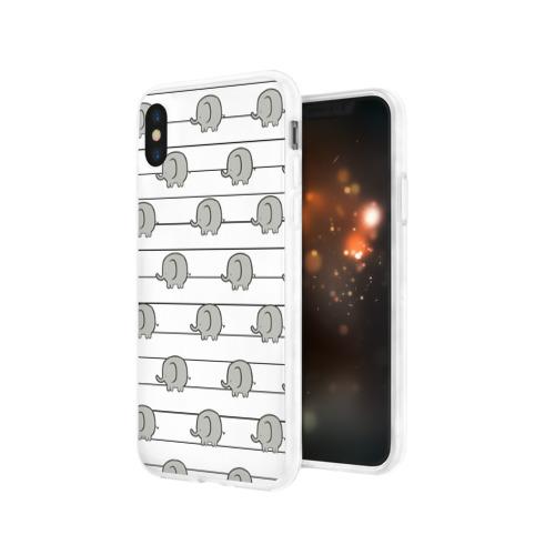Чехол для Apple iPhone X силиконовый глянцевый  Фото 03, Милые слоны
