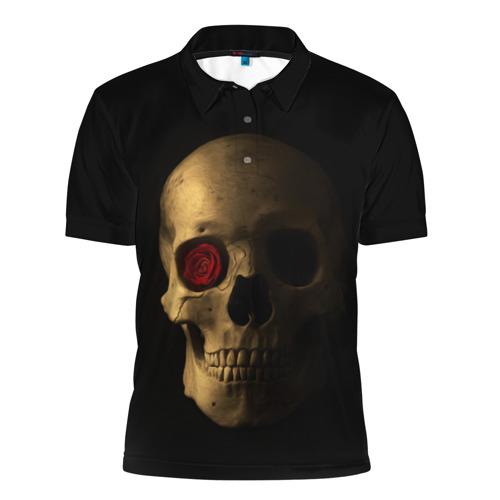 Мужская рубашка поло 3D  Фото 01, Череп и роза