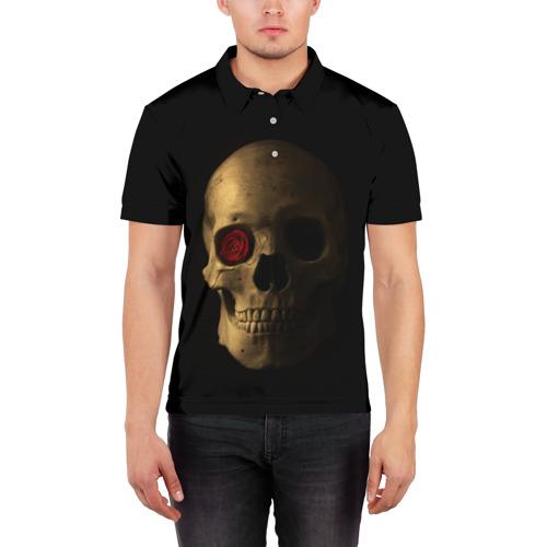 Мужская рубашка поло 3D  Фото 03, Череп и роза