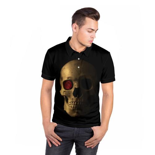 Мужская рубашка поло 3D  Фото 05, Череп и роза