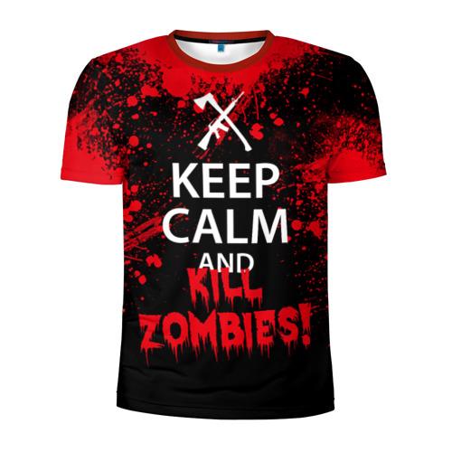 Мужская футболка 3D спортивная Keep Calm & Kill Zombies