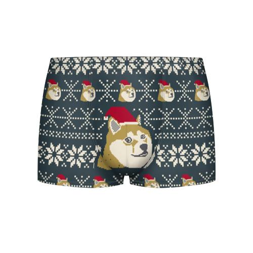 Мужские трусы 3D Doge новогодний Фото 01