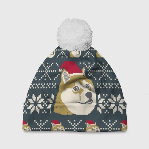 Шапка 3D c помпоном Doge новогодний