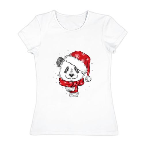 Женская футболка хлопок  Фото 01, Панда-санта