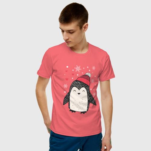 Мужская футболка хлопок Пингвин в шапке Фото 01