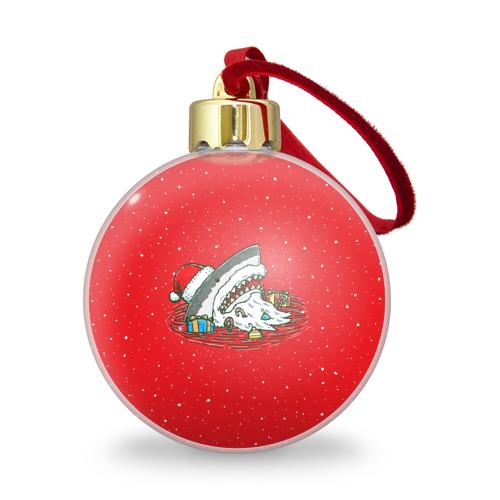 Ёлочный шар с блестками  Фото 01, Акула Дед Мороз