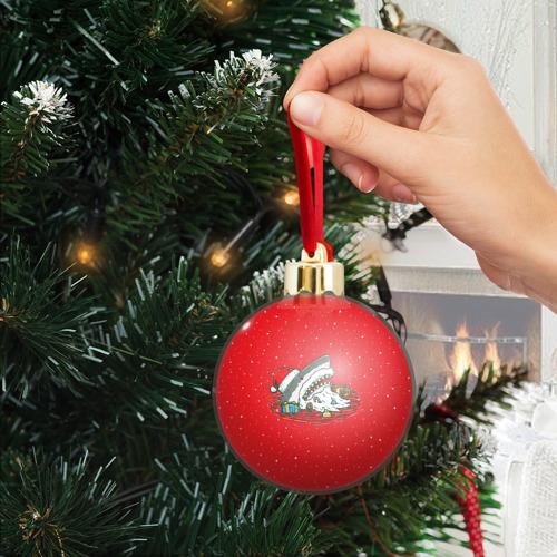 Ёлочный шар с блестками  Фото 04, Акула Дед Мороз