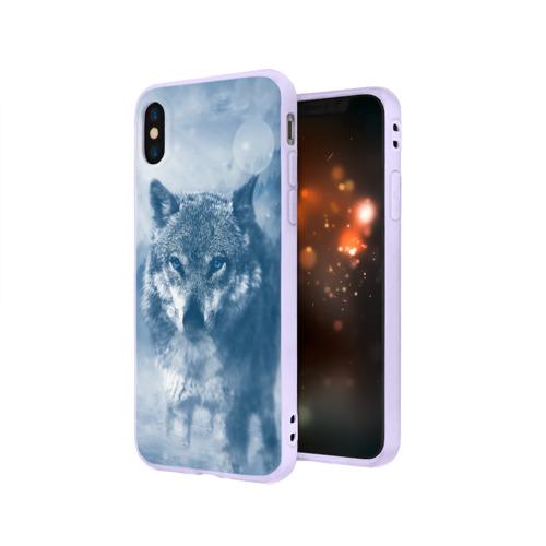 Чехол для Apple iPhone X силиконовый матовый Волк Фото 01