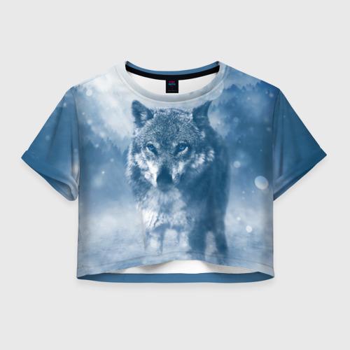 Женская футболка Crop-top 3D Волк Фото 01