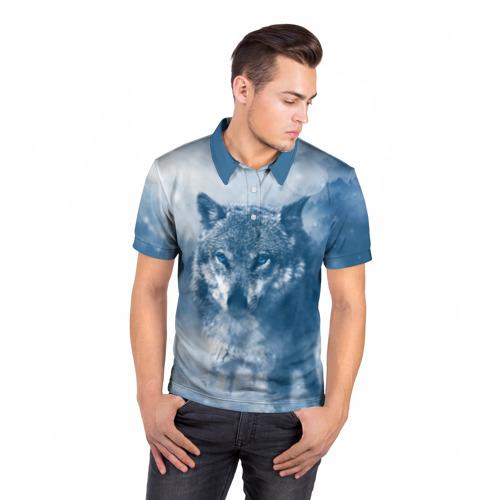 Мужская рубашка поло 3D Волк Фото 01