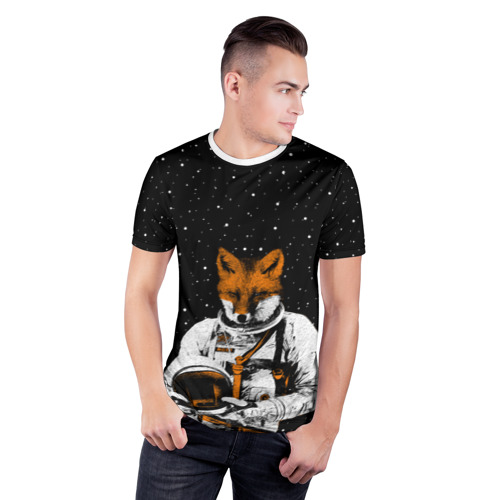 Мужская футболка 3D спортивная  Фото 03, Лис космонавт