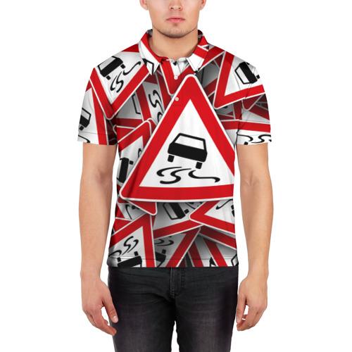 Мужская рубашка поло 3D  Фото 03, Дорожный знак 1
