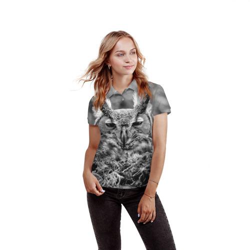 Женская рубашка поло 3D Филин Фото 01