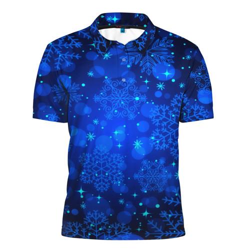 Мужская рубашка поло 3D  Фото 01, Снежинки