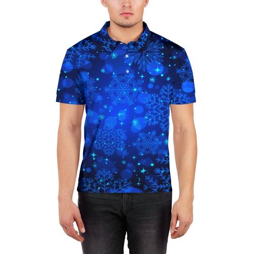 Мужская рубашка поло 3D  Фото 03, Снежинки