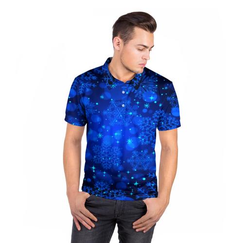 Мужская рубашка поло 3D  Фото 05, Снежинки