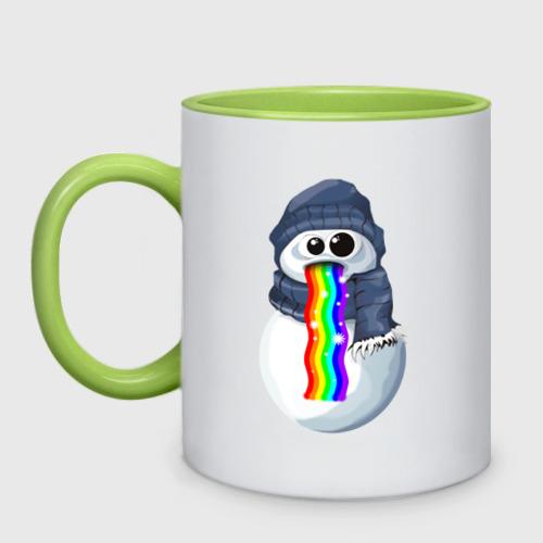 Кружка двухцветная Снеговик снэпчат Фото 01