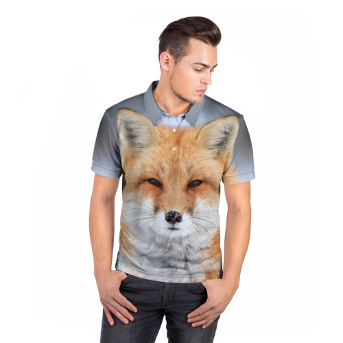Мужская рубашка поло 3D Лиса Фото 01