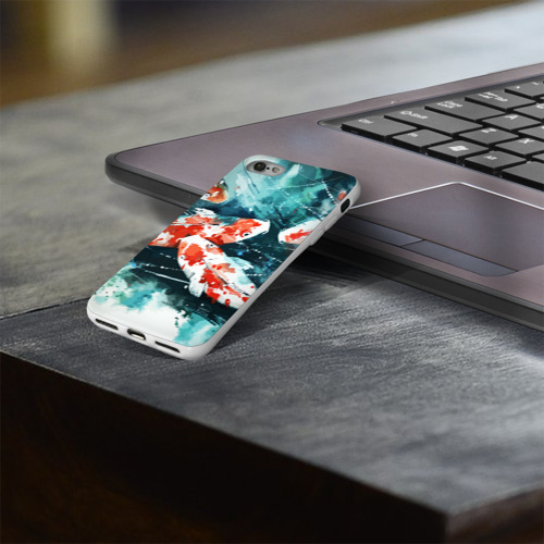Чехол для Apple iPhone 8 силиконовый глянцевый  Фото 03, Koi Fish (карпы кои)