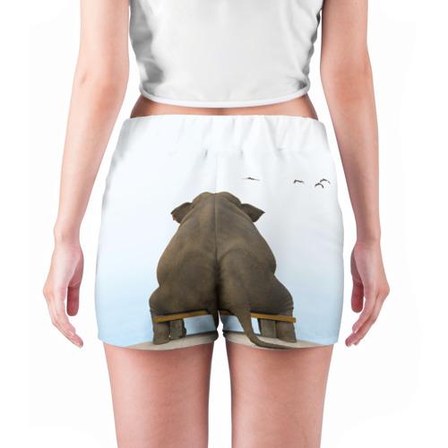 Женские шорты 3D  Фото 04, Слон и журавли